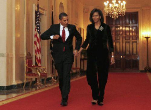 Michelle Obama Velvet Pantsuit & Flats