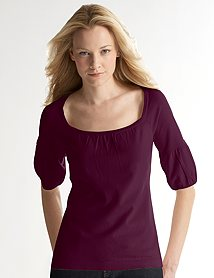 Ann Taylor Loft Puff Sleeve Square Neck Sweater, $44.50