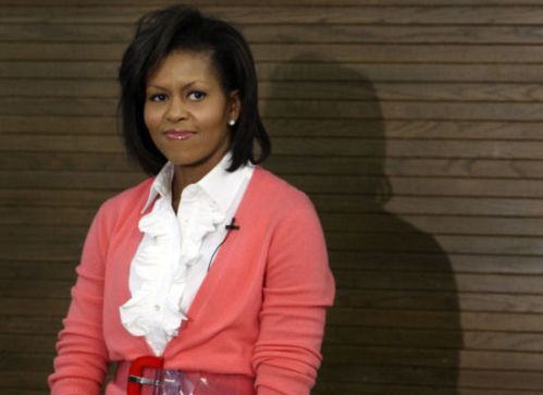 Michelle Obama's outfit at Miriam's Kitchen