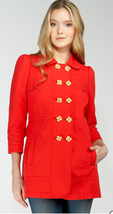 Juicy Couture Flower-Button Trench Coat, $194.25