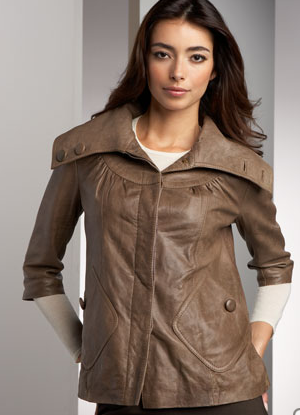 Gray Leather Trapeze Jacket - $103.00