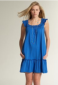 Smocked Scoopneck Embroidered Dress, $29.90, Ann Taylor Loft